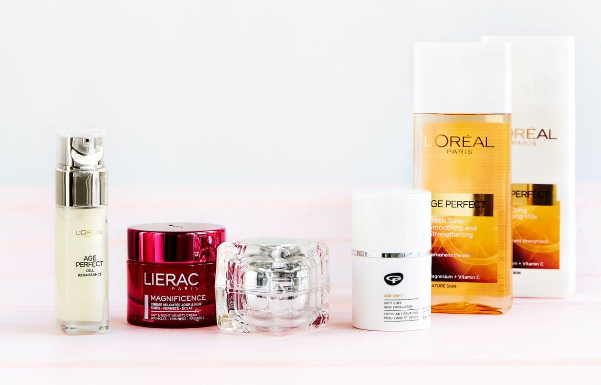 Ota täsmätuotteet avuksi: L'Oréalin yli 50-vuotiaiden seerumi lupaa nopeuttaa ihon uusiutumista. Age Perfect Cell Renaissance, 30 ml 40 e, päivittäistavarakaupat. Lieracin ikääntyvän ihon päivä- ja yövoide on ihoa kiinteyttävä. Magnificence Velvety Cream, 50 ml  75 e, apteekeista. V 10 -sarjan päivä- ja yövoide tekee kasvoista napakan tuntuiset. V 10 LX Advanced Lifting Cream Treatment, 30 ml 87 e, apteekeista. Green People Age Defy kuorii herkänkin ihon. Soft Buff Skin Exfoliator -kuorintavoide, 30 ml 37 e, Stockmann-tavaratalot. L'Oréalin Age Perfect -puhdistusemulsio ja Age Perfect -kasvovesi ovat raikaita ja hellävaraisia, 200 ml/pkt 7,20 e, päivittäistavarakaupat.