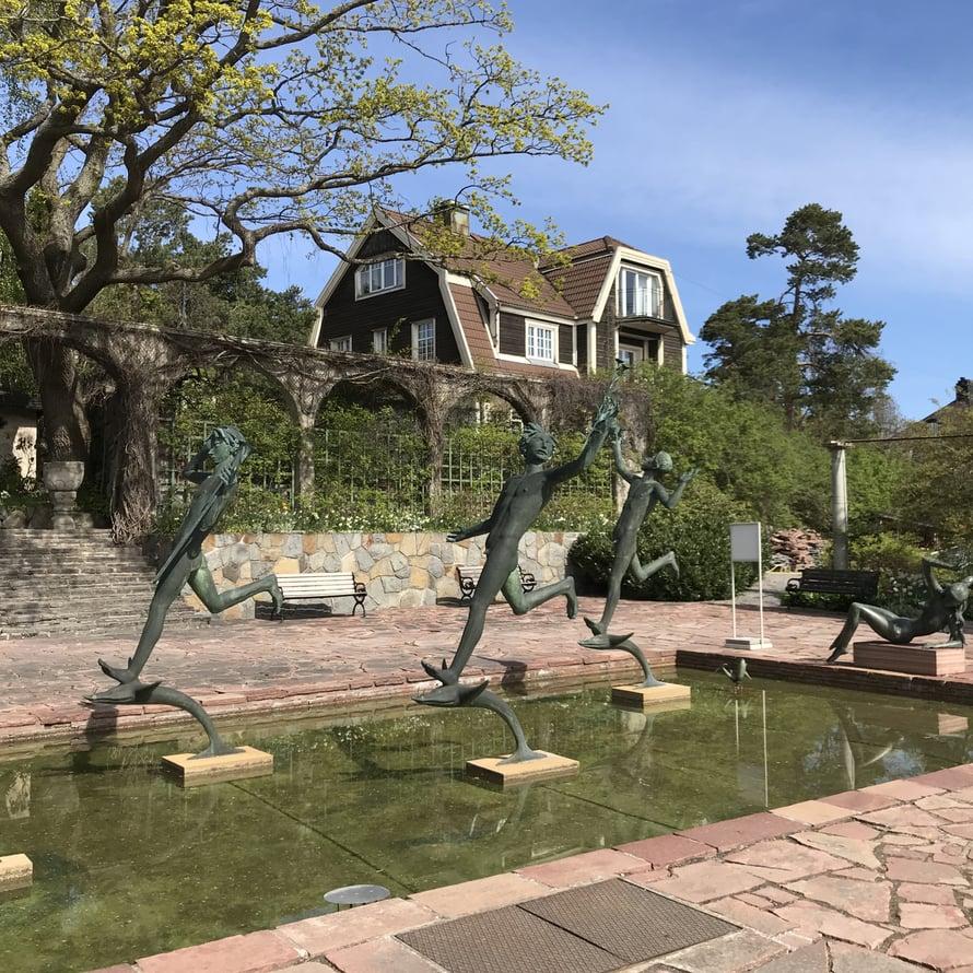 Millesgårdenin puutarha, veistokset ja suihkulähteet olivat upeaa katseltavaa.
