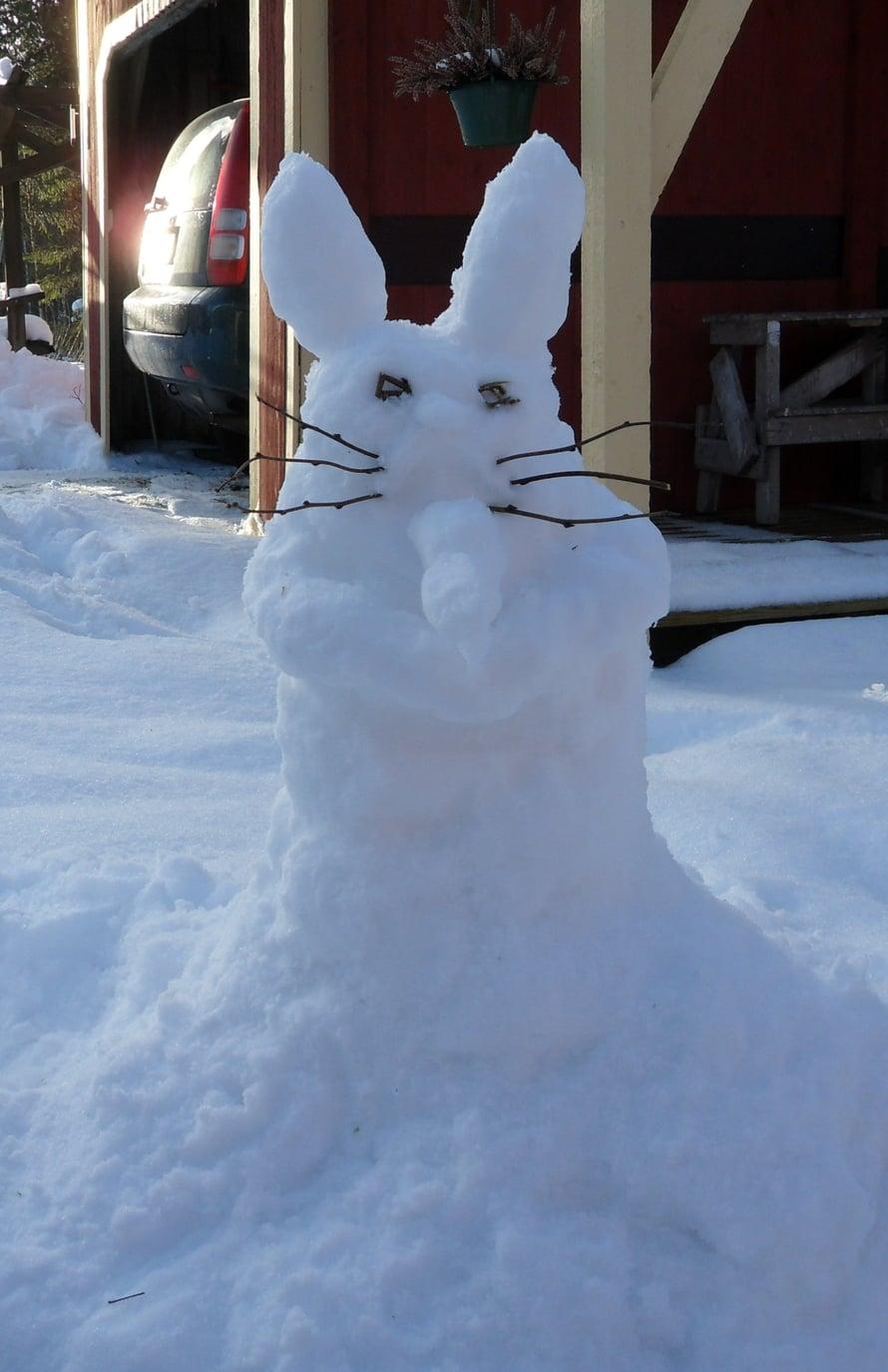 Tämä ei ole lumiukko eikä -akka, vaan jotain muuta. Katsoja saa päättää!