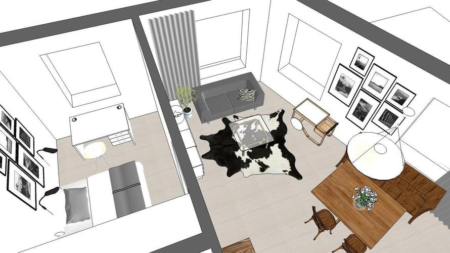 Niina Ahonen piirsi Kirsin uudesta kodista mallin, jossa näkyy huonekalujen sijoittelu.