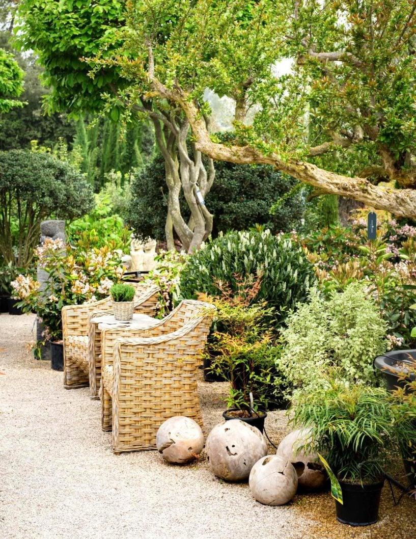 Puutarhaliikkeeseen on rakennettu tiloja, joista asiakkaat voivat hakea inspiraatiota.