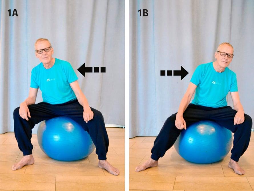 LANTIO LIIKKEELLE. Istahda jumppapallon päälle reiluun haara-asentoon ja ryhdistä selkäsi sekä lantiosi. Pidä keskivartalosi tiukkana. Kierrä lantiota pallon päällä vuorotellen oikealta vasemmalle ja vasemmalta oikealle. Toista niin kauan, että tunnet lantiosi vetreytyvän ja lihasten lämpenevän.