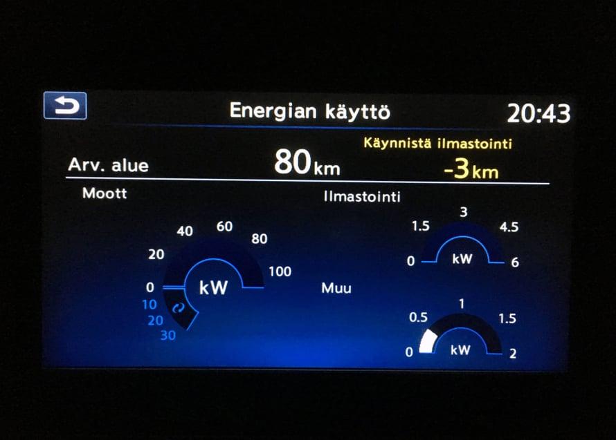Ajotietokone kertoo jäljellä olevan toimintamatkan melko tarkasti oikein.