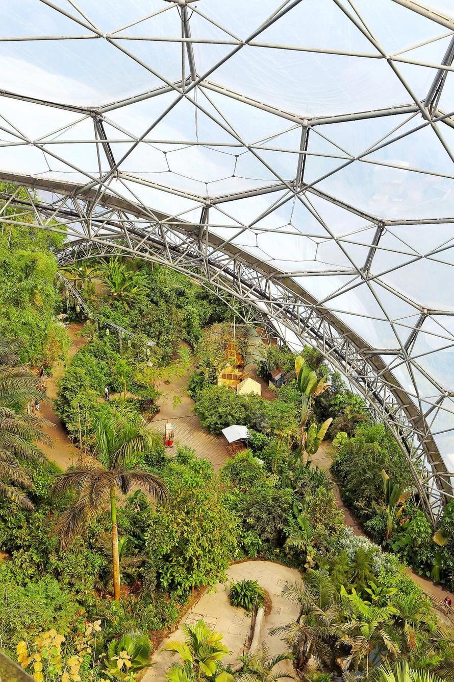 Kasvihuoneisiin on luotu sademetsä ja Välimeren luontoa.