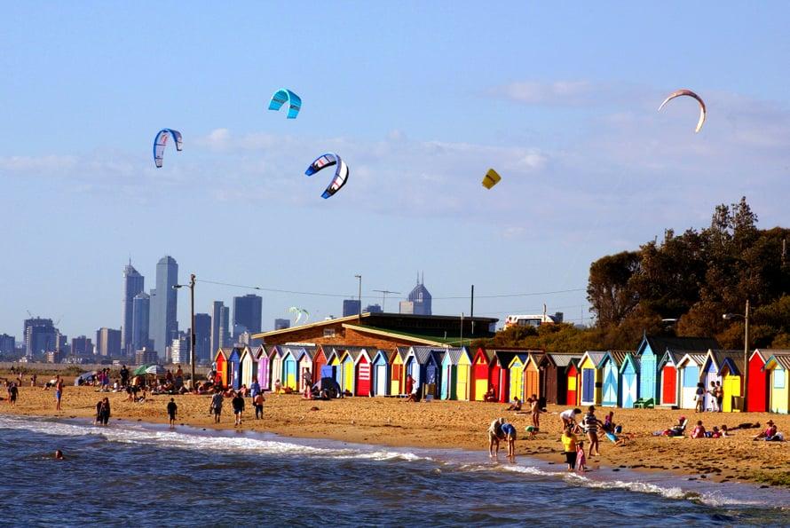Melbournen Brighton Beach on kuuluisa.