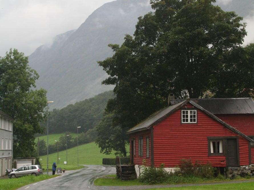 Øyen kyläraitti on kaunis, mutta syötävän söpö sumussakin.