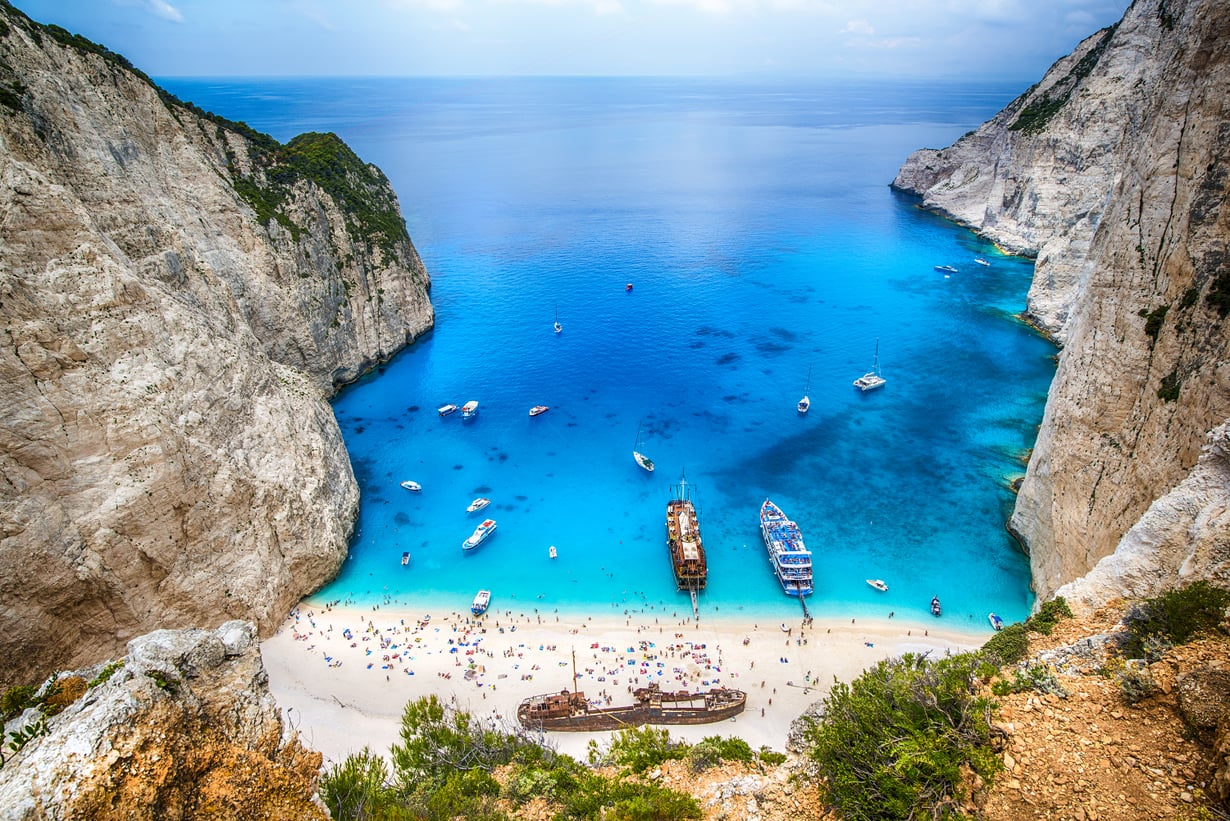 Tämä kuva on Navágion rannalta, joka sijaitsee Zákynthoksen saarella Kreikassa.