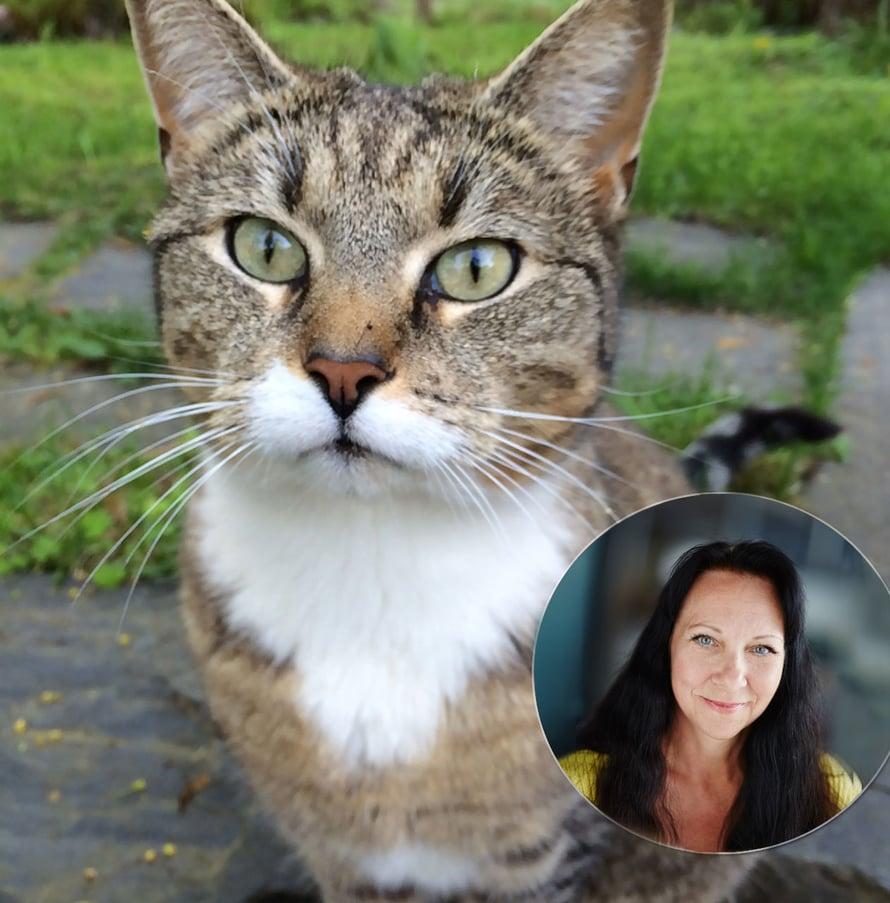 Pari vienoja hymyjä ja vihreitä viirusilmiä. Kuvissa ET-lehden toimituksen sihteeri Marjaana ja hänen kissansa Hulda.