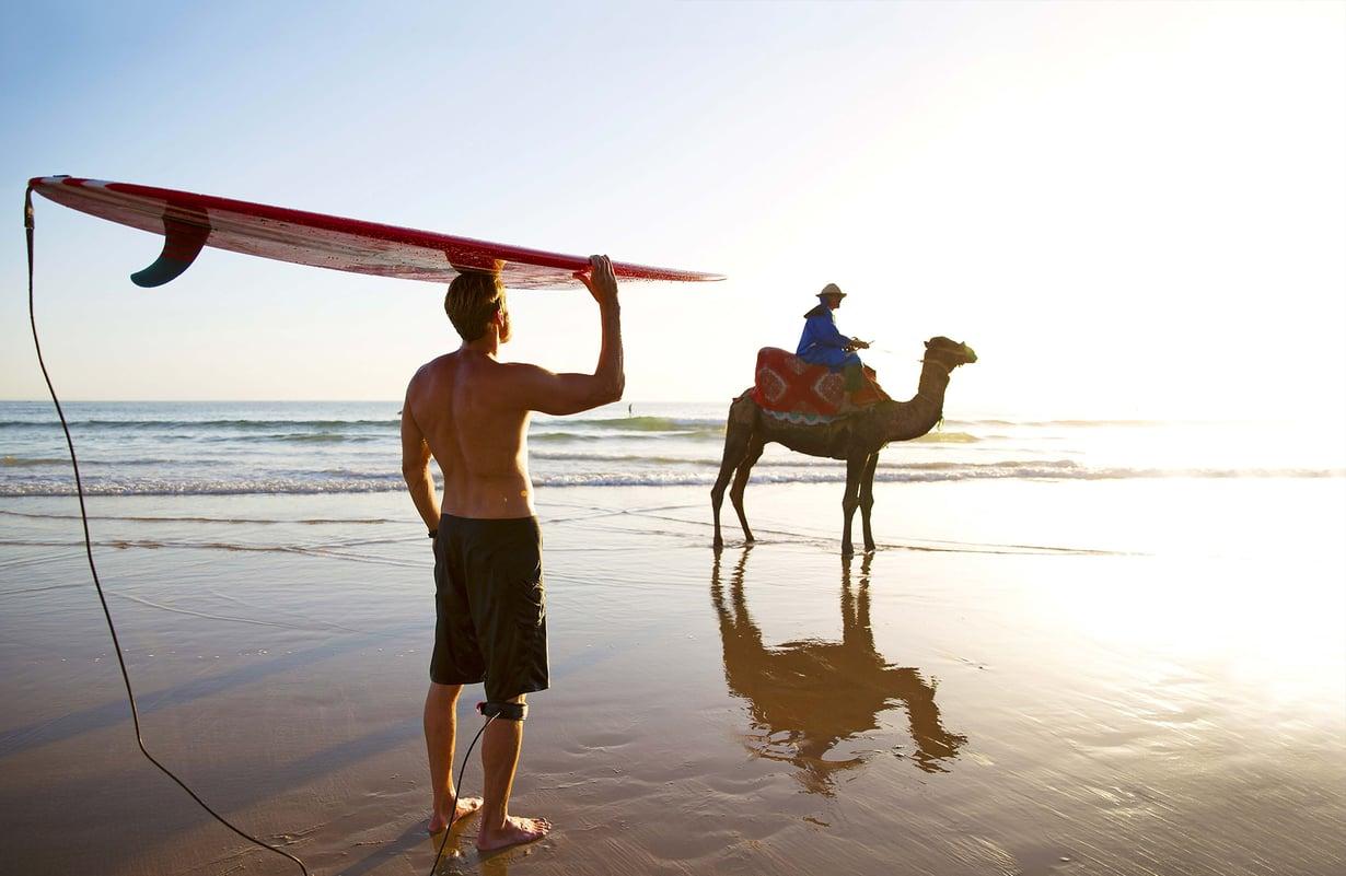 Marokon länsirannikolla sijaitseva Taghazout on surffareiden suosiossa.