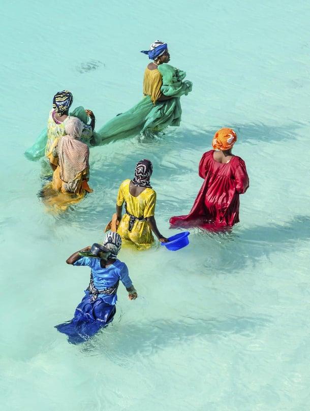 Turistien ykkösasia, meri, tarjoaa sansibarilaisille toimeentuloa, esimerkiksi merilevän kasvatusta.