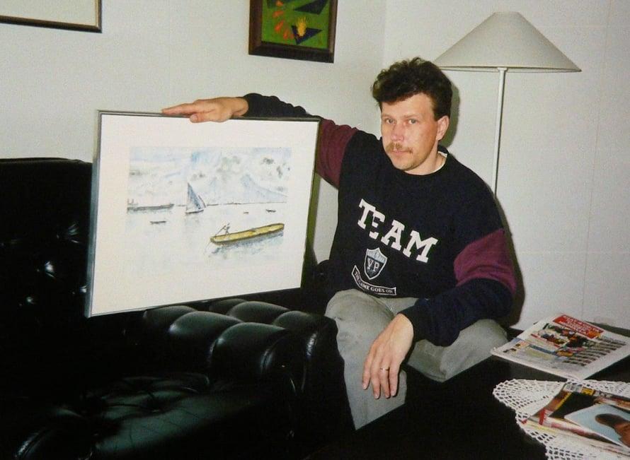 Lahjoitin hyvälle ystävälle Jorma Frimannille maalaamani taulun.