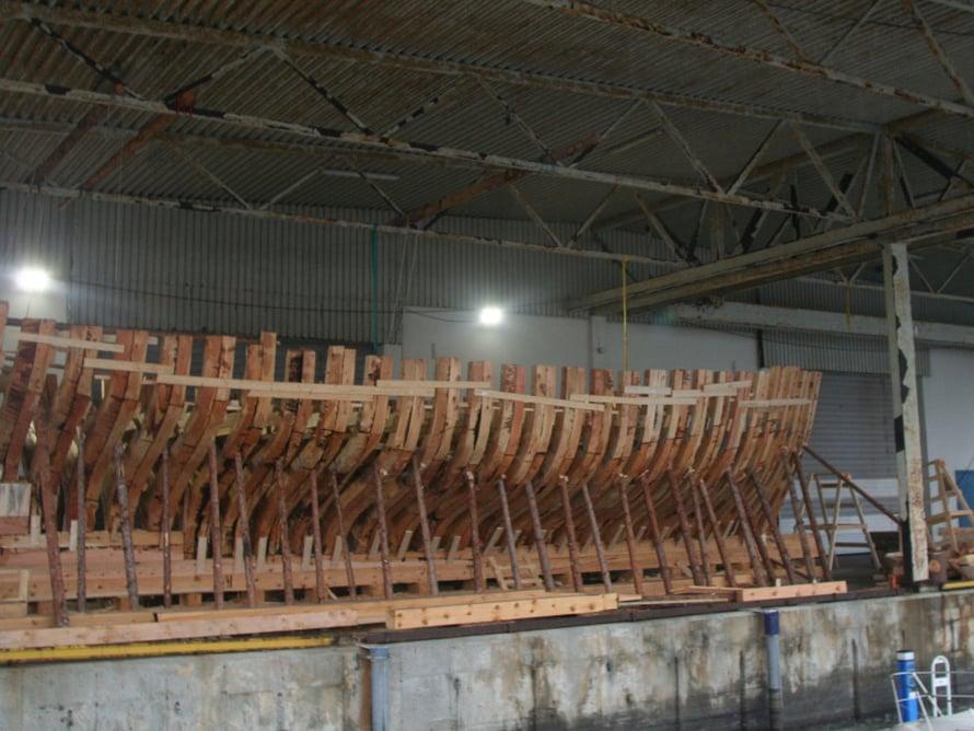 Laivanrakennustyömaa Trondheimin satamassa.