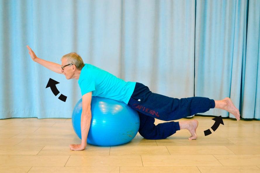 KUORMITA SELKÄÄ. Asetu vatsallesi pallon päälle. Aseta toisen jalan polvi tai varpaat lattiaan tasapainosi takeeksi ja pidä tarvittaessa vastakkaisen käden kämmen tai sormet lattiassa. Ojentele samaan aikaan toista jalkaa ja sen vastakkaista kättä reiluun kohoasentoon ja pidä asento hetken ajan. Laske alas. Tee noin viisi kertaa tai niin kauan, että liike tuntuu selkälihaksissa ja reiden takaosassa. Tee liike seuraavaksi vastakkaisella kädellä ja jalalla.