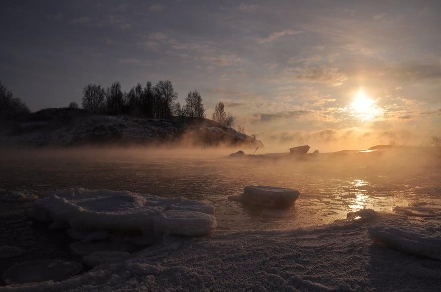 """Piipa, Helsinki: """"Meri höyrysi mahtavasti, kun pakkasta oli n. -27c° ja meriveden lämpötila oli vielä plussan puolella."""""""